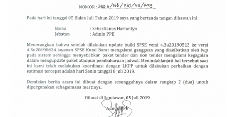 Berita Acara Gangguan Sistem Pengadaan Secara Elektronik 5 Juli 2019