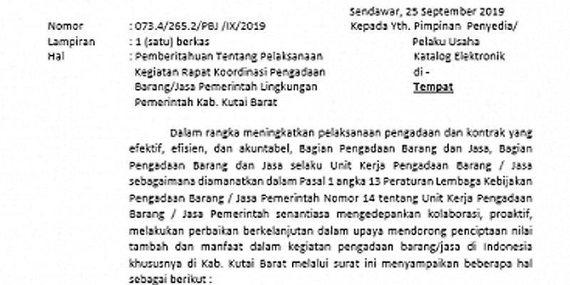 Laporan Pelaksanaan Rapat Koordinasi Pengadaan Barang/Jasa