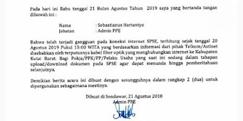 Berita acara gangguan koneksi internet