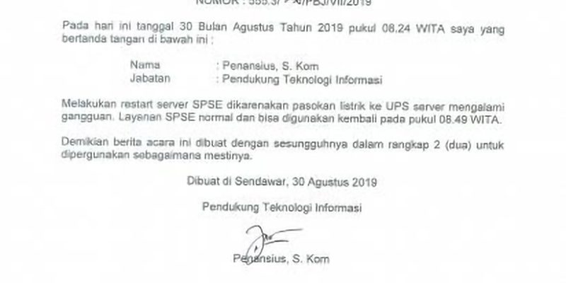 Berita Acara Restart Server SPSE