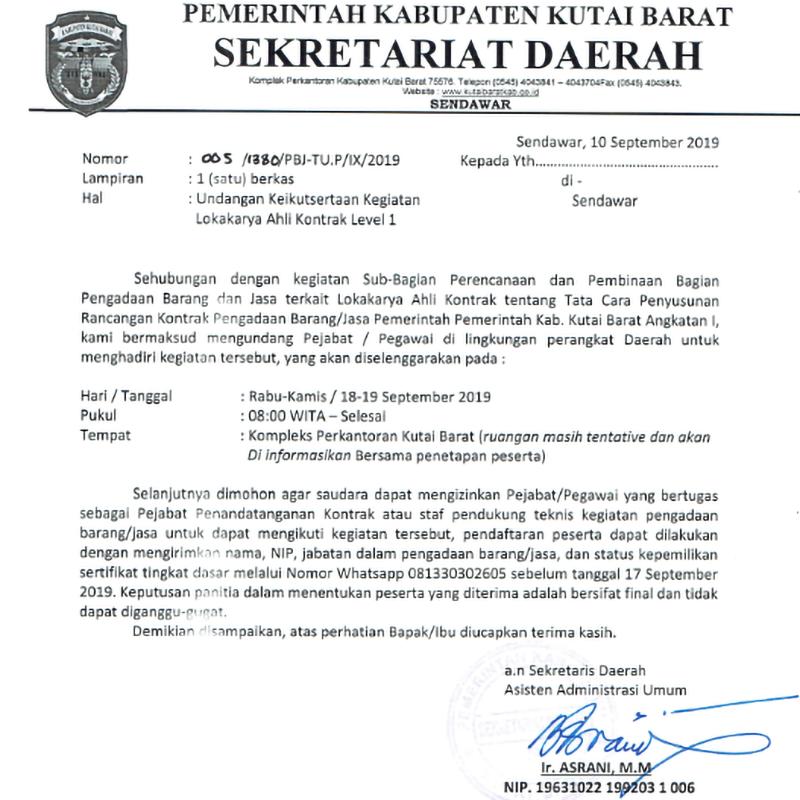 Penjaringan Peserta Lokakarya Ahli Kontrak Level 1 - Angkatan 1