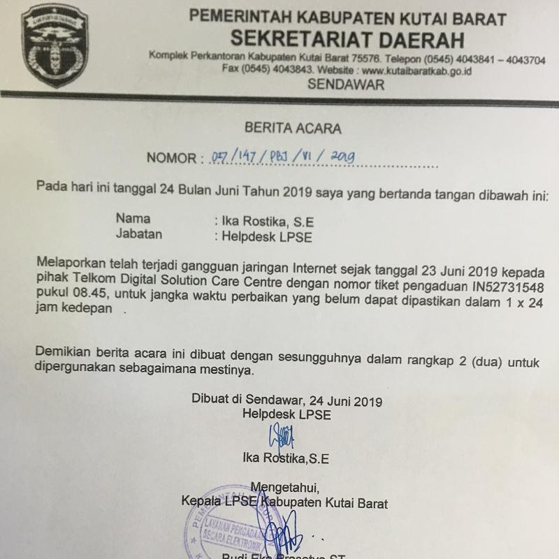 Berita Acara Gangguan LPSE Kab. Kutai Barat tanggal 4 Juli 2019